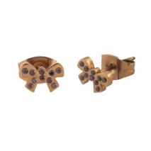 Loisir σκουλαρίκια 03L27-00509 φιόγκος από ανοξείδωτο ατσάλι (Stainless Steel) με ημιπολύτιμες πέτρες (Κρύσταλλοι Quartz) και Ion Plated Rose Gold