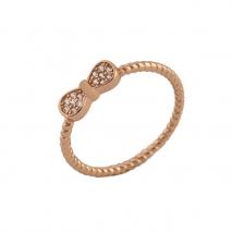 Loisir δαχτυλίδι 04L15-00108 από ροζ ορείχαλκο με ημιπολύτιμες πέτρες (Κρύσταλλοι Quartz)