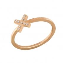 Loisir δαχτυλίδι 04L27-00724 Χ από ανοξείδωτο ατσάλι (Stainless Steel) με ημιπολύτιμες πέτρες (Κρύσταλλοι Quartz) και Ion Plated Rose Gold