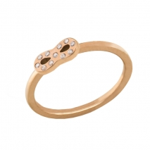 Loisir δαχτυλίδι 04L27-00725 άπειρο από ανοξείδωτο ατσάλι (Stainless Steel) με ημιπολύτιμες πέτρες (Κρύσταλλοι Quartz) και Ion Plated Rose Gold