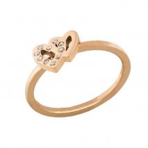 Loisir δαχτυλίδι 04L27-00726 καρδιές από ανοξείδωτο ατσάλι (Stainless Steel) με ημιπολύτιμες πέτρες (Κρύσταλλοι Quartz) και Ion Plated Rose Gold