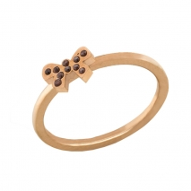 Loisir δαχτυλίδι 04L27-00727 φιόγκος από ανοξείδωτο ατσάλι (Stainless Steel) με ημιπολύτιμες πέτρες (Κρύσταλλοι Quartz) και Ion Plated Rose Gold