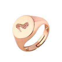 Loisir δαχτυλίδι 04L27-00731 σεβαλιέ γόβα από ανοξείδωτο ατσάλι (Stainless Steel) με ημιπολύτιμες πέτρες (Ζιργκόν) και Ion Plated Rose Gold