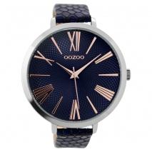 OOZOO Timepieces C9218 γυναικείο ρολόι XL με ασημί μεταλλική κάσα και σκούρο μπλε snake δερμάτινο λουράκι