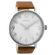 OOZOO Timepieces C9401 unisex ρολόι XL με ασημί μεταλλική κάσα και καφέ δερμάτινο λουράκι