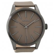 OOZOO Timepieces C9411 unisex ρολόι XL με σκούρο γκρι μεταλλική κάσα και σταχτί δερμάτινο λουράκι