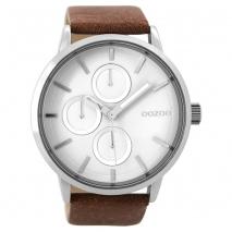OOZOO Timepieces C9426 unisex ρολόι XL με ασημί μεταλλική κάσα και καφέ δερμάτινο λουράκι
