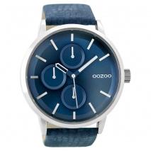 OOZOO Timepieces C9427 unisex ρολόι XL με ασημί μεταλλική κάσα και σκούρο μπλε δερμάτινο λουράκι