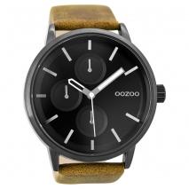 OOZOO Timepieces C9428 unisex ρολόι XL με μαύρη μεταλλική κάσα και κάμελ δερμάτινο λουράκι