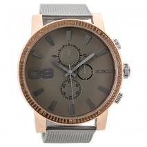 OOZOO Timepieces C9437 ανδρικό ρολόι XL με ροζ χρυσή μεταλλική κάσα και ασημί μπρασελέ
