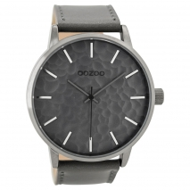 OOZOO Timepieces C9440 ανδρικό ρολόι XL με ασημί μεταλλική κάσα και γκρι δερμάτινο λουράκι