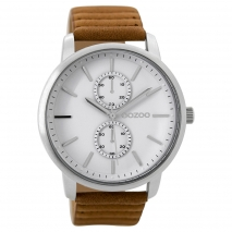 OOZOO Timepieces C9451 unisex ρολόι με ασημί μεταλλική κάσα και καφέ δερμάτινο λουράκι