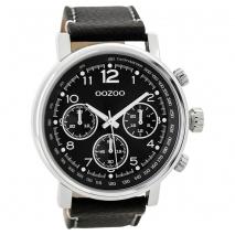 OOZOO Timepieces C9459 ανδρικό ρολόι XL με ασημί μεταλλική κάσα και μαύρο δερμάτινο λουράκι