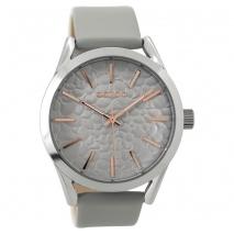 OOZOO Timepieces C9471 γυναικείο ρολόι XL με ασημί μεταλλική κάσα και γκρι δερμάτινο λουράκι