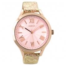 OOZOO Timepieces C9478 γυναικείο ρολόι XL με ροζ χρυσή μεταλλική κάσα και ροζ χρυσό snake δερμάτινο λουράκι