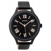 OOZOO Timepieces C9479 γυναικείο ρολόι XL με μαύρη μεταλλική κάσα και μαύρο δερμάτινο λουράκι