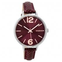 OOZOO Timepieces C9482 γυναικείο ρολόι με ασημί μεταλλική κάσα και μπορντώ δερμάτινο λουράκι