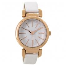 OOZOO Timepieces C9485 γυναικείο ρολόι με ροζ χρυσή μεταλλική κάσα και λευκό δερμάτινο λουράκι