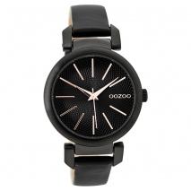 OOZOO Timepieces C9489 γυναικείο ρολόι με μαύρη μεταλλική κάσα και μαύρο δερμάτινο λουράκι