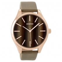 OOZOO Timepieces C9501 γυναικείο ρολόι XL με ροζ χρυσή μεταλλική κάσα και σταχτί δερμάτινο λουράκι
