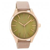 OOZOO Timepieces C9502 γυναικείο ρολόι XL με ροζ χρυσή μεταλλική κάσα και ροζ γκρι δερμάτινο λουράκι