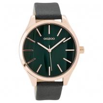 OOZOO Timepieces C9503 γυναικείο ρολόι XL με ροζ χρυσή μεταλλική κάσα και σκούρο πράσινο δερμάτινο λουράκι