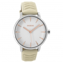 OOZOO Timepieces C9505 γυναικείο ρολόι με ασημί μεταλλική κάσα και απαλό εκρού δερμάτινο λουράκι