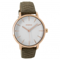 OOZOO Timepieces C9509 γυναικείο ρολόι με ροζ χρυσή μεταλλική κάσα και καφέ μαύρο δερμάτινο λουράκι