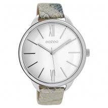 OOZOO Timepieces C9511 γυναικείο ρολόι XL με ασημί μεταλλική κάσα και άσπρο μπλε snake δερμάτινο λουράκι