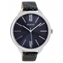 OOZOO Timepieces C9514 γυναικείο ρολόι XL με ασημί μεταλλική κάσα και σκούρο μπλε snake δερμάτινο λουράκι