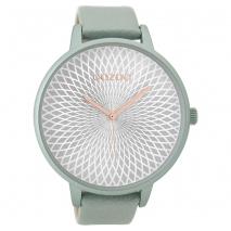 OOZOO Timepieces C9521 γυναικείο ρολόι XL με απαλή μπλε μεταλλική κάσα και απαλό μπλε δερμάτινο λουράκι