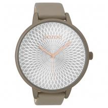 OOZOO Timepieces C9523 γυναικείο ρολόι XL με σταχτί μεταλλική κάσα και σταχτί δερμάτινο λουράκι
