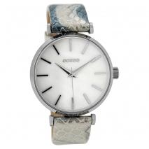 OOZOO Timepieces C9535 γυναικείο ρολόι με ασημί μεταλλική κάσα και άσπρο μπλε snake δερμάτινο λουράκι