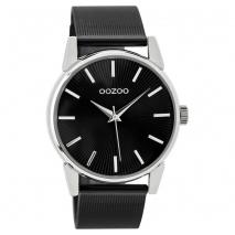 OOZOO Timepieces C9551 γυναικείο ρολόι με ασημί μεταλλική κάσα και μαύρο μπρασελέ