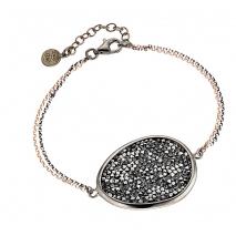 Oxette βραχιόλι 02X01-02928 από επιπλατινωμένο ασήμι 925ο με ημιπολύτιμες πέτρες (Κρύσταλλοι Quartz)