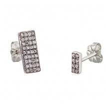 Oxette σκουλαρίκια 03X01-02572 ορθογώνιο από επιπλατινωμένο ασήμι 925ο με ημιπολύτιμες πέτρες (Ζιργκόν)