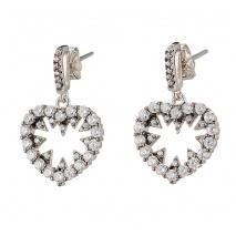 Oxette σκουλαρίκια 03X01-02576 καρδιά από επιπλατινωμένο ασήμι 925ο με ημιπολύτιμες πέτρες (Ζιργκόν)