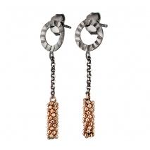 Oxette σκουλαρίκια 03X01-02583 κρίκοι από επιπλατινωμένο και ροζ επιχρυσωμένο ασήμι 925ο