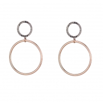 Oxette σκουλαρίκια 03X01-02590 κρίκοι από επιπλατινωμένο και ροζ επιχρυσωμένο ασήμι 925ο