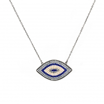 Oxette κολιέ μάτι 01X01-04512 από επιπλατινωμένο ασήμι 925ο με ημιπολύτιμες πέτρες (Ζιργκόν)