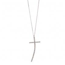 Oxette κολιέ σταυρός 01X01-04515 από επιπλατινωμένο ασήμι 925ο με ημιπολύτιμες πέτρες (Ζιργκόν)