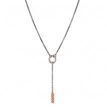 Oxette κολιέ κρίκοι 01X01-04539 από επιπλατινωμένο και ροζ επιχρυσωμένο ασήμι 925ο