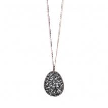 Oxette κολιέ 01X01-04544 από επιπλατινωμένο ασήμι 925ο με ημιπολύτιμες πέτρες (Κρύσταλλοι Quartz)