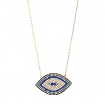 Oxette κολιέ μάτι 01X05-02142 από ροζ επιχρυσωμένο ασήμι 925ο με ημιπολύτιμες πέτρες (Ζιργκόν)