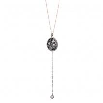 Oxette κολιέ 01X05-02153 από ροζ και σκούρο γκρι επιχρυσωμένο ασήμι 925ο με ημιπολύτιμες πέτρες (Κρύσταλλοι Quartz)