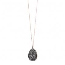 Oxette κολιέ 01X05-02154 από ροζ και σκούρο γκρι επιχρυσωμένο ασήμι 925ο με ημιπολύτιμες πέτρες (Κρύσταλλοι Quartz)