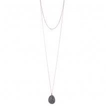 Oxette κολιέ 01X05-02155 από ροζ και σκούρο γκρι επιχρυσωμένο ασήμι 925ο με ημιπολύτιμες πέτρες (Κρύσταλλοι Quartz)