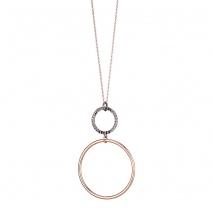 Oxette κολιέ κρίκοι 01X05-02156 από επιπλατινωμένο και ροζ επιχρυσωμένο ασήμι 925ο