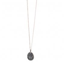 Oxette κολιέ 01X05-02159 από ροζ και σκούρο γκρι επιχρυσωμένο ασήμι 925ο με ημιπολύτιμες πέτρες (Κρύσταλλοι Quartz)