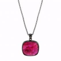 Oxette κολιέ 01X15-00069 από μαύρο ορείχαλκο με ημιπολύτιμες πέτρες (Κρύσταλλοι Quartz)